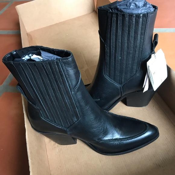 Nwt Mango Black Leather Cowboy Style